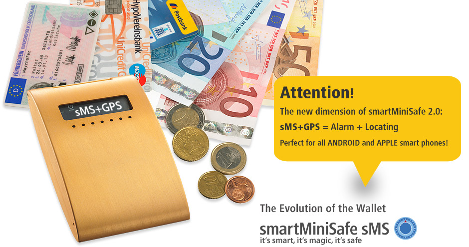 sMS - smartMiniSafe the wallet with integrated theft protection